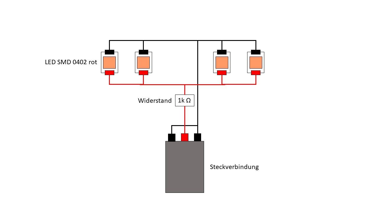 Verkabelung der LED und Widerstand im Z-95 Headhunter